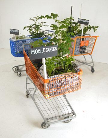 alışveriş arabası ile mobil bahçe